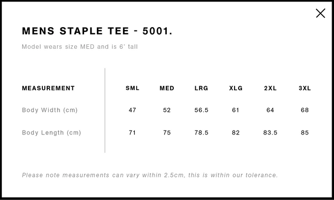 AS Staple Sizing Chart